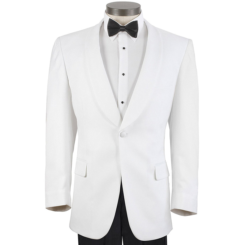 White Evening Party Men Suits Shawl Lapel Two Piece One Button Two Piece Wedding Groom Tuxedos 2018 Jacket Black Pants