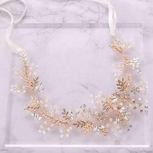 Image 3 - Модные повязки для волос Стразы с кристаллами для невесты повязка на голову с розовыми цветами и листьями Тиара головной убор Свадебные украшения для волос аксессуары SL