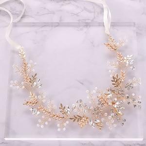 Image 3 - Mode Gold Strass Kristall Braut Haarbänder Rosa Blume Blatt Stirnband Tiara Kopfschmuck Hochzeit Haar Schmuck Zubehör SL