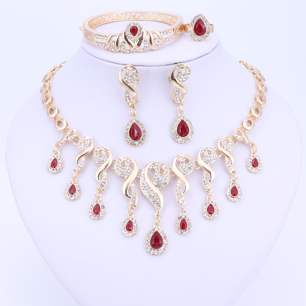 Gold Color Crystal African Beads Jewelry Sets For Women Dress Accessories Wedding Bridal Necklace Earrings Bracelet Ring Sets
