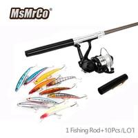 MsMrCo 12 Pcs 1 Set 10 Color Minnow Artificial Bait Fishing Lure Mini Pen 7 Colors