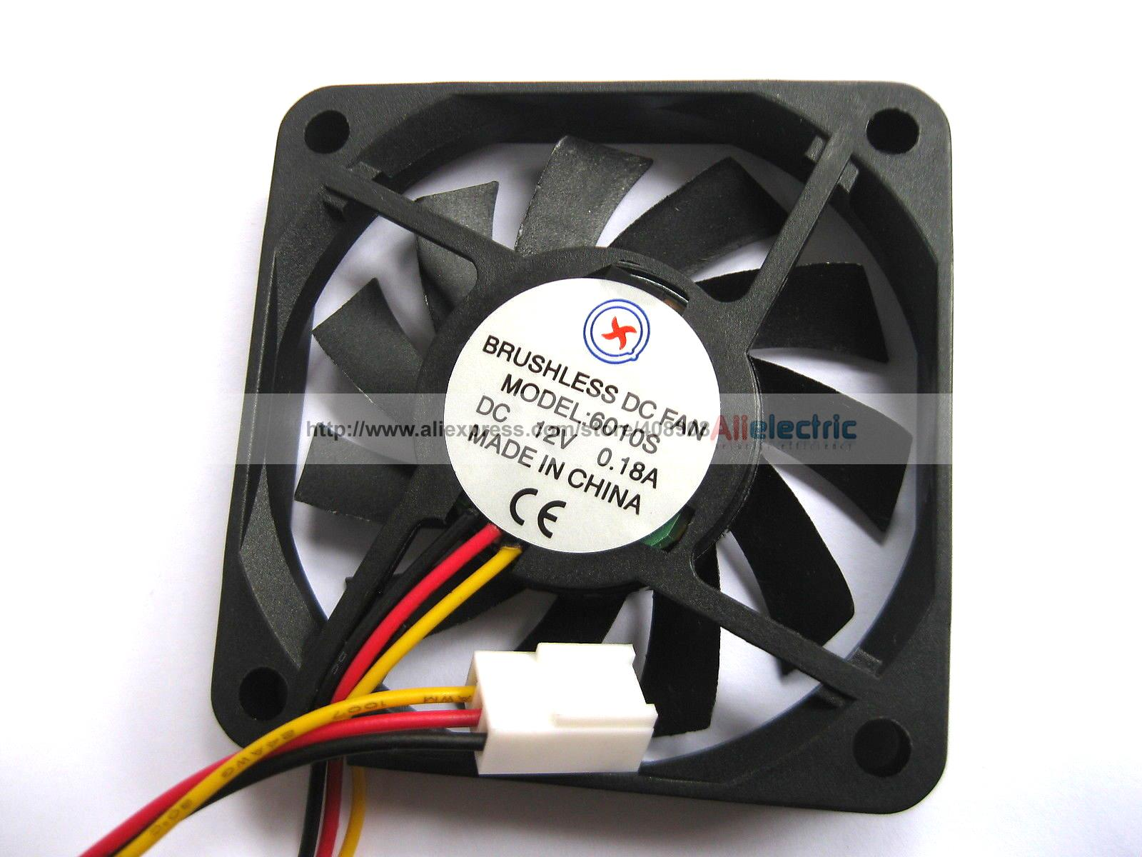ФОТО 10 Pcs Brushless DC Fan 11 Blade 12V 6010s 3 Wire 60x60x10mm