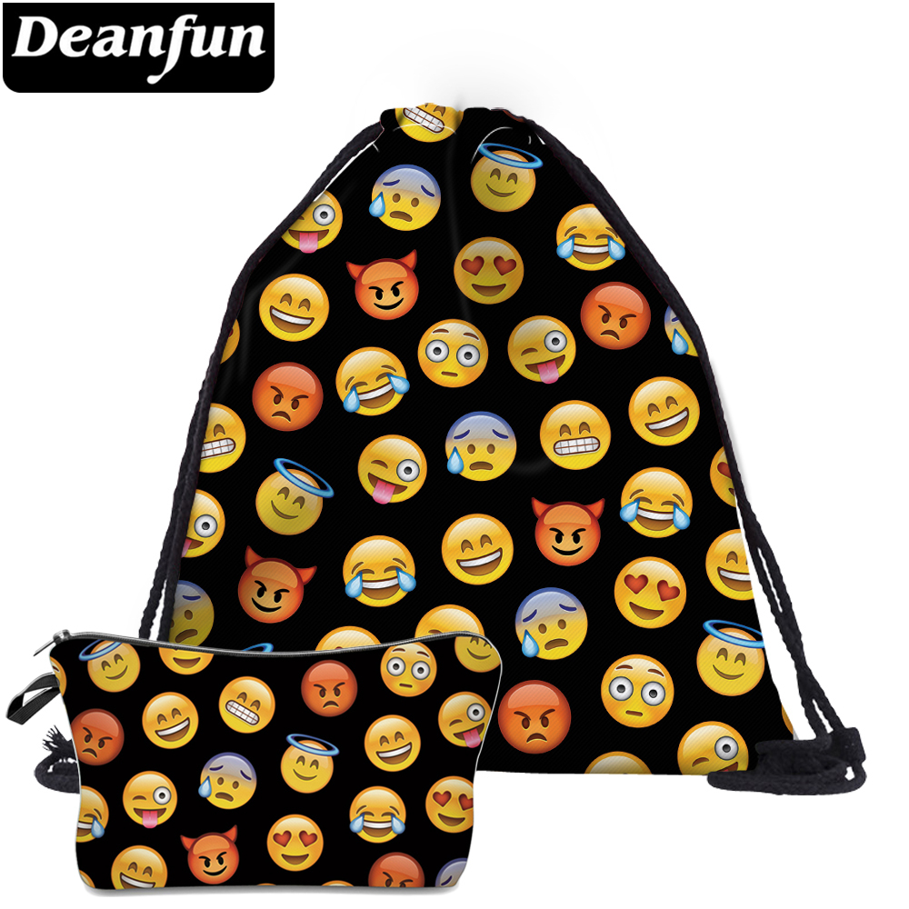 Deanfun 2Pc Women Drawstring Bags Black Emoji Printed Multifunctional For Storage