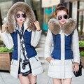 Fashion Large Fur Collar Hooded Girl Coat Jacket Women Parka 2016 Winter Coat Women Jackets short Slim Ladies Coats outerwear
