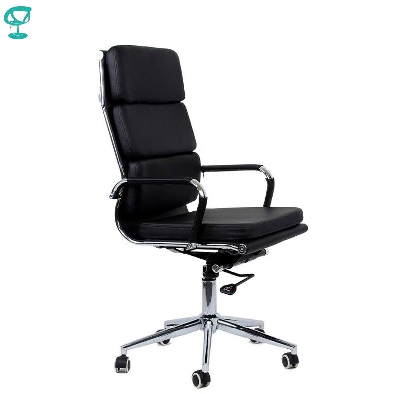 95172 Cadeira Do Escritório Preto Barneo K-104 eco-braços cromados com tiras de couro de couro de alta volta frete grátis na Rússia
