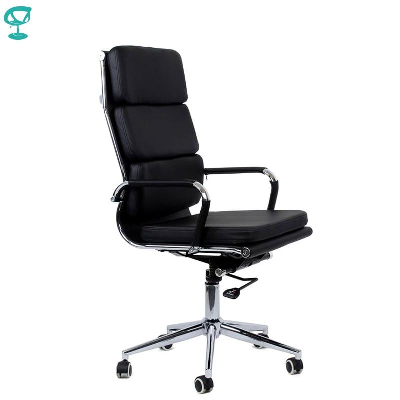 95172 chaise de bureau noire Barneo K-104 eco-cuir dossier haut chrome accoudoirs avec sangles en cuir livraison gratuite en russie