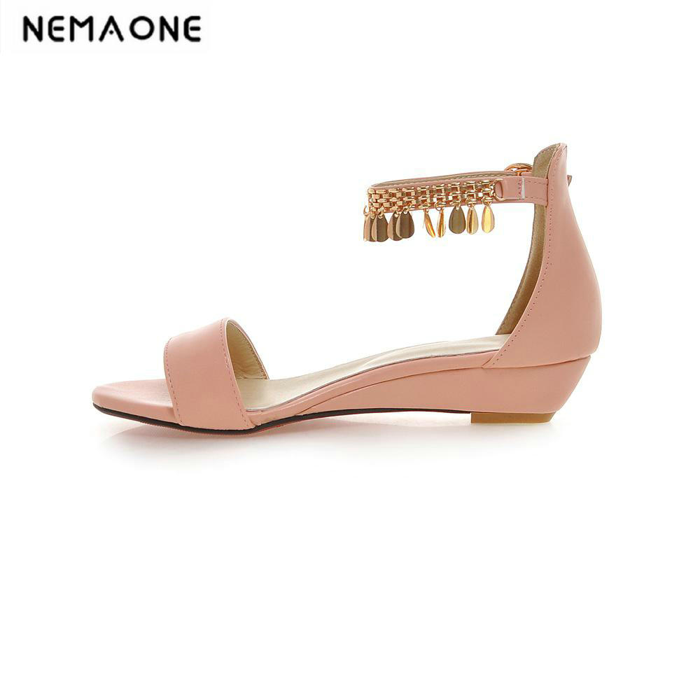 Plus size(34-43) 2018 Summer shoes Woman open toe Women pu leather Wedges sandals Casual low heel Sandals Women Sandals summer shoes woman platform sandals women soft leather casual open toe gladiator wedges women nurse shoes zapatos mujer size 8