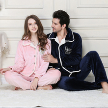 Men's Pajamas Winter Full Sleeve Flannel Sleepwear Turn-down Collar Pajamas Men Thick Lounge Pajama Sets Plus size Sleepwear