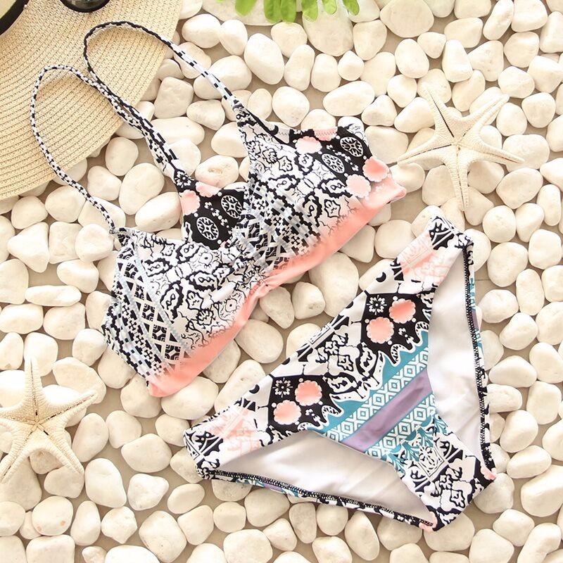 Swimwear Women Swimsuit Push Up Swimwear Female 19 Sexy Bandeau Bikini Ladies Brazilian Beach Bathing Suit bandage Bikini Set 21