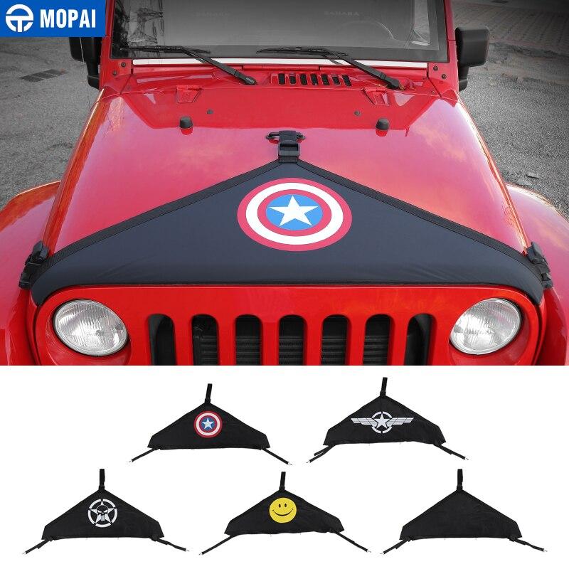 Bonnets de motor de para coches Mopai para Jeep Wrangler JK 2007-2017 cubierta delantera del coche sujetador Protector para Jeep JK Wrangler Accesorios