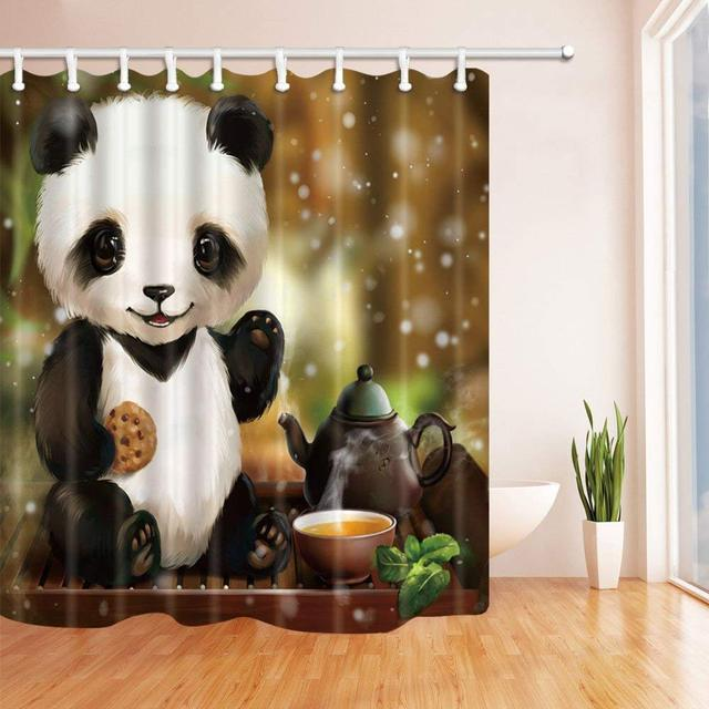Cartoon Panda Shower Curtain China Style Cookie Teapot Yellow Winter Time Fabric Bathroom Curtains