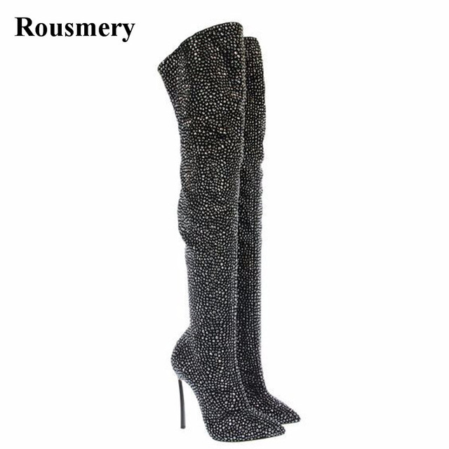 Women Fashion Pointed Toe Blingbling Rhinestone Over Knee High Heel Boots  Sexy Slim Crystal Stiletto Heel Evening Dress Boots 2272bbf5dc55