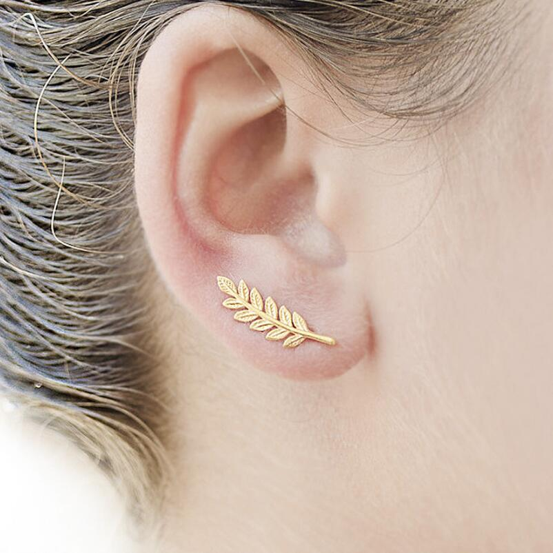 SMJEL Bohemia Ethnic Tiny Gold Color Feather Stud Earrings for Women Simple Leaf Earring Piercing Wedding Jewelry Birthday Gift