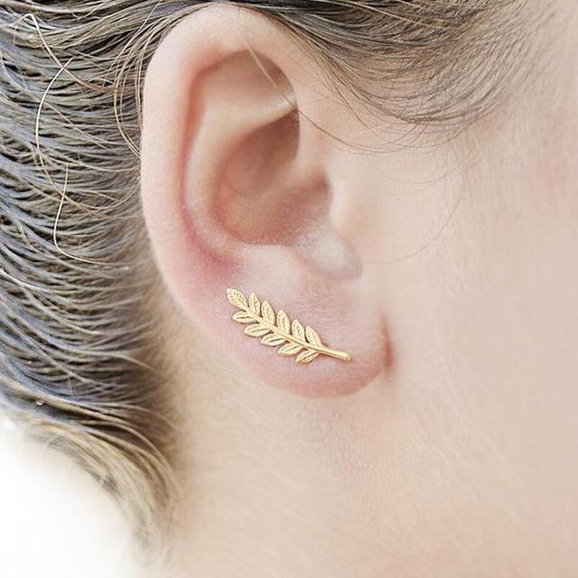 Feathers stud earrings SMJEL Bohemia Ethnic Tiny Gold Color Feather Stud Earrings for Women Simple  Leaf Earring Piercing Wedding Jewelry Birthday Gift
