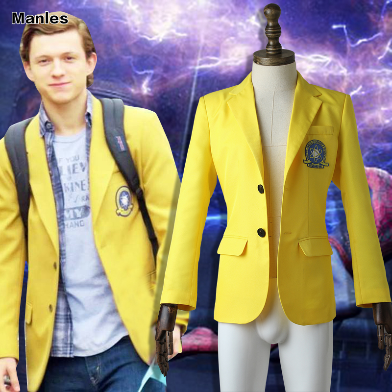 Spider Man Jacket Spider-Man Homecoming Cosplay Costume Halloween Clothes Superhero Spiderman Carnival Suit Adult Yellow Coat