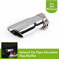 Round 304 Stainless Steel Exhaust Tip Pipes Education Pipe Muffler for 2007 2017 Jeep Wrangler JK Unlimited Exterior Accessories