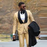 2018 пользовательские мужской золотой Бизнес костюм Slim fit выпускного вечера вечерние костюмы смокинг жениха для Для мужчин свадебный костюм (