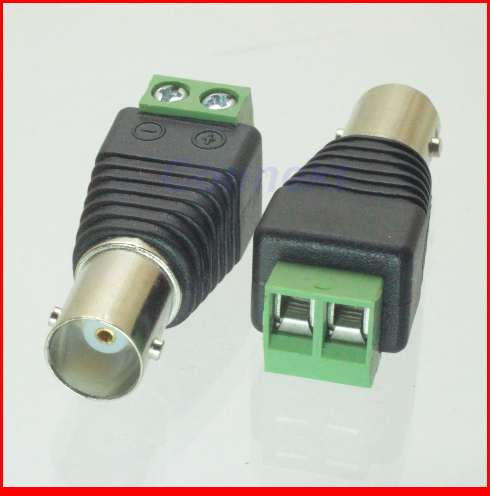 100 pcs CAT5 To Camera CCTV Video Balun BNC female jack AV Screw Terminal Connector