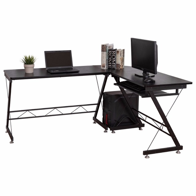 Bon L Shape Computer Desk L Shaped Desk Corner PC Laptop Computer Table With  Keyboard Tray For Home Office Workstation   US Stock