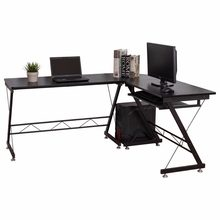 L-Shape Computer Desk L-Shaped Desk Corner PC Laptop Computer Table with Keyboard Tray for Home Office Workstation - US Stock(China)