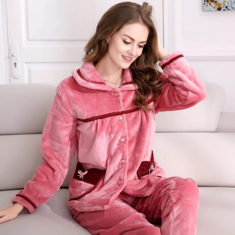 SSH0103 Hot Sale Women Winter   Pajama     Sets   Warm Pink Coral Fleece Full Sleeves Sleepwear 2 pieces Flannel Female   Pajama