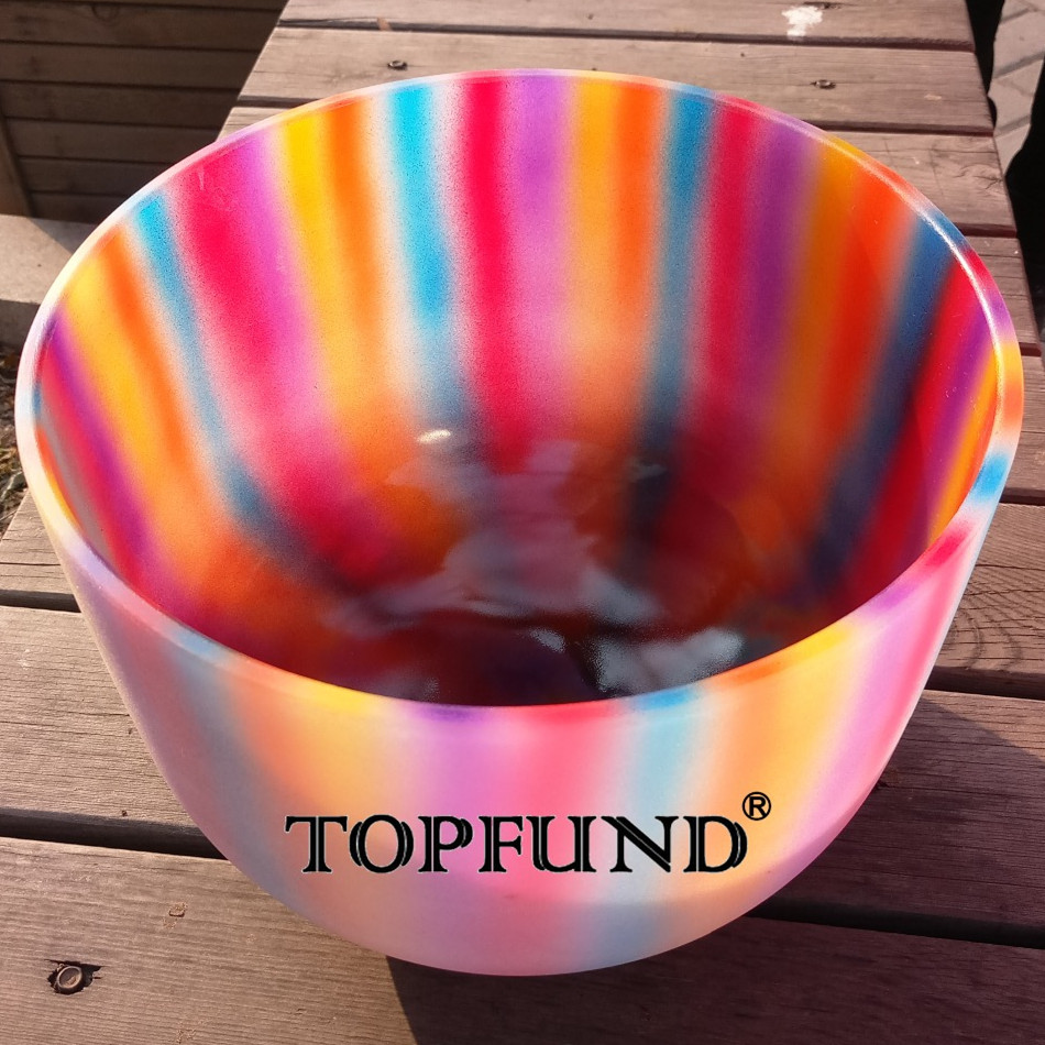 TOPFUND E note Solar Plexus Chakra Rainbow Color Frosted Quartz Crystal Singing Bowl 8 ,O ring and Mallet included