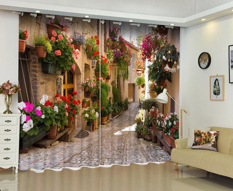 Photo de rideau de fenêtre de route de campagne 3D pour la maison