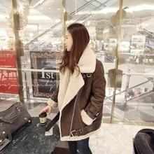 Winter Jackets Suede Leather British Style Jackets Coats Women Coats Short Deer Skinned Thick Cotton Jacket Women Woolen Coat