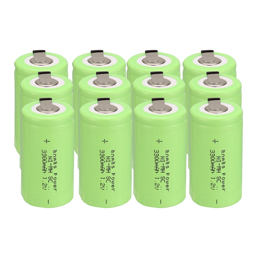 Russian seller!Anmas power 12 pcs sub c SC battery Ni-Cd battery rechargeable battery 3300mh with tab-green color 4.25CM*2.2CM