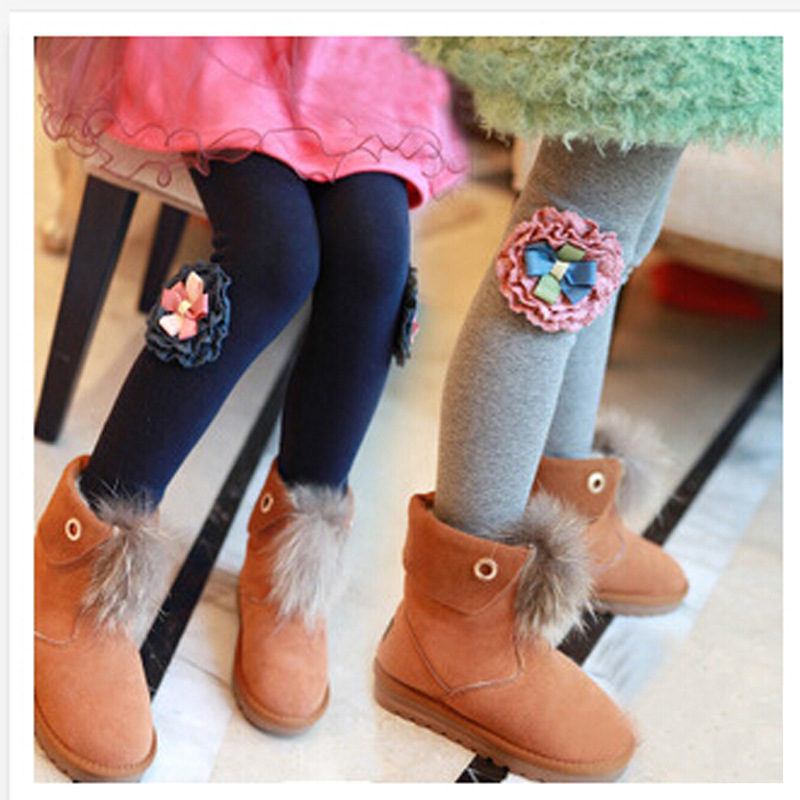 2017 girl thickening With velvet Leggings pants cotton FLOWER fashion warm Stretch Bottoming trousers Autumn winter kids clothes