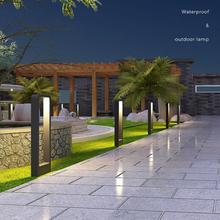 QIHANG 방수 LED 정원 잔디 램프 현대 알루미늄 기둥 빛 야외 안뜰 빌라 풍경 잔디 광장 bollards 빛