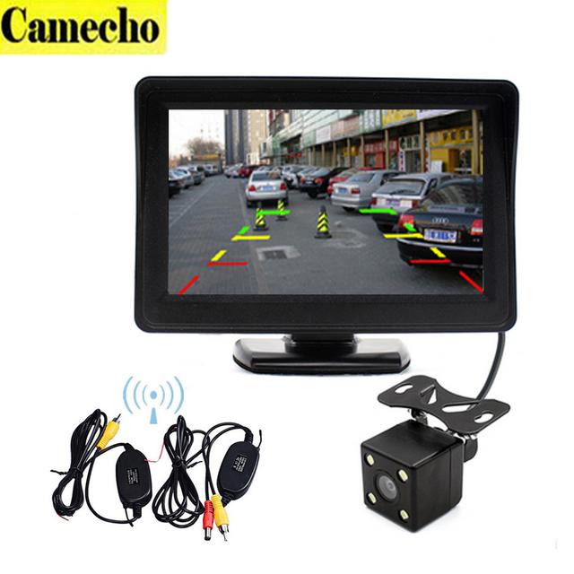 """Sem fio Retrovisor Auto Auxiliar De Estacionamento 4.3 """"cor TFT LCD Rear View Monitor + Visão Noturna Câmera de Segurança Retrovisor Para O Carro Veículo"""