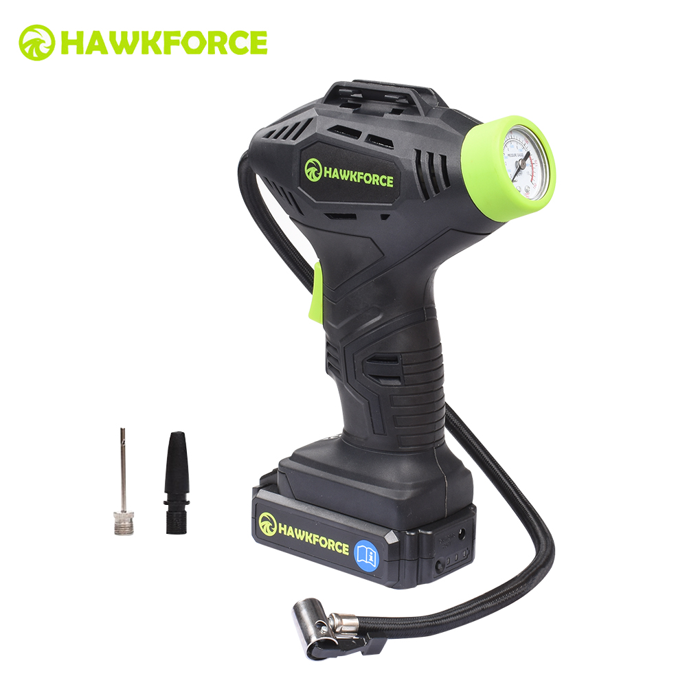 HAWKFORCE 18V Rechargeable Air Compressor Cordless Tire Inflator Portable Pump LED Light with Manometer Ball Needle