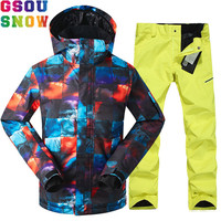 GSOU SNOW Brand Ski Suit Men Winter Outdoor Mountain Skiing Suit Snowboarding Suits Waterproof Breathable Ski