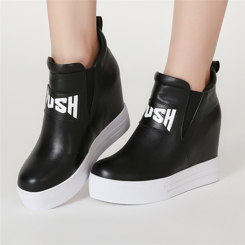 Altura Mujer Altos Más Mujeres Tamaño Caminar Aumento Cuña Botines Negro Para Zapatos Auténtico blanco Tacones Cuñas Cuero 40 33 fvwzxqXFf1