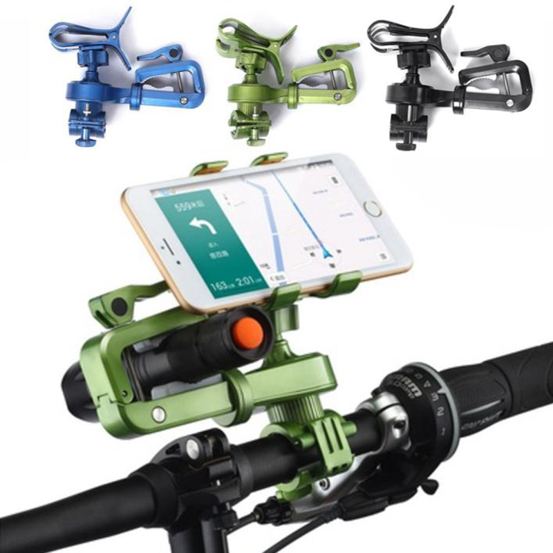 2017 New 2 in 1 Bike Holder For Cellphone Cycling Light Motorcycle Handlebar Racks Phone Clip Rotation Bracket Holder GPS Torch