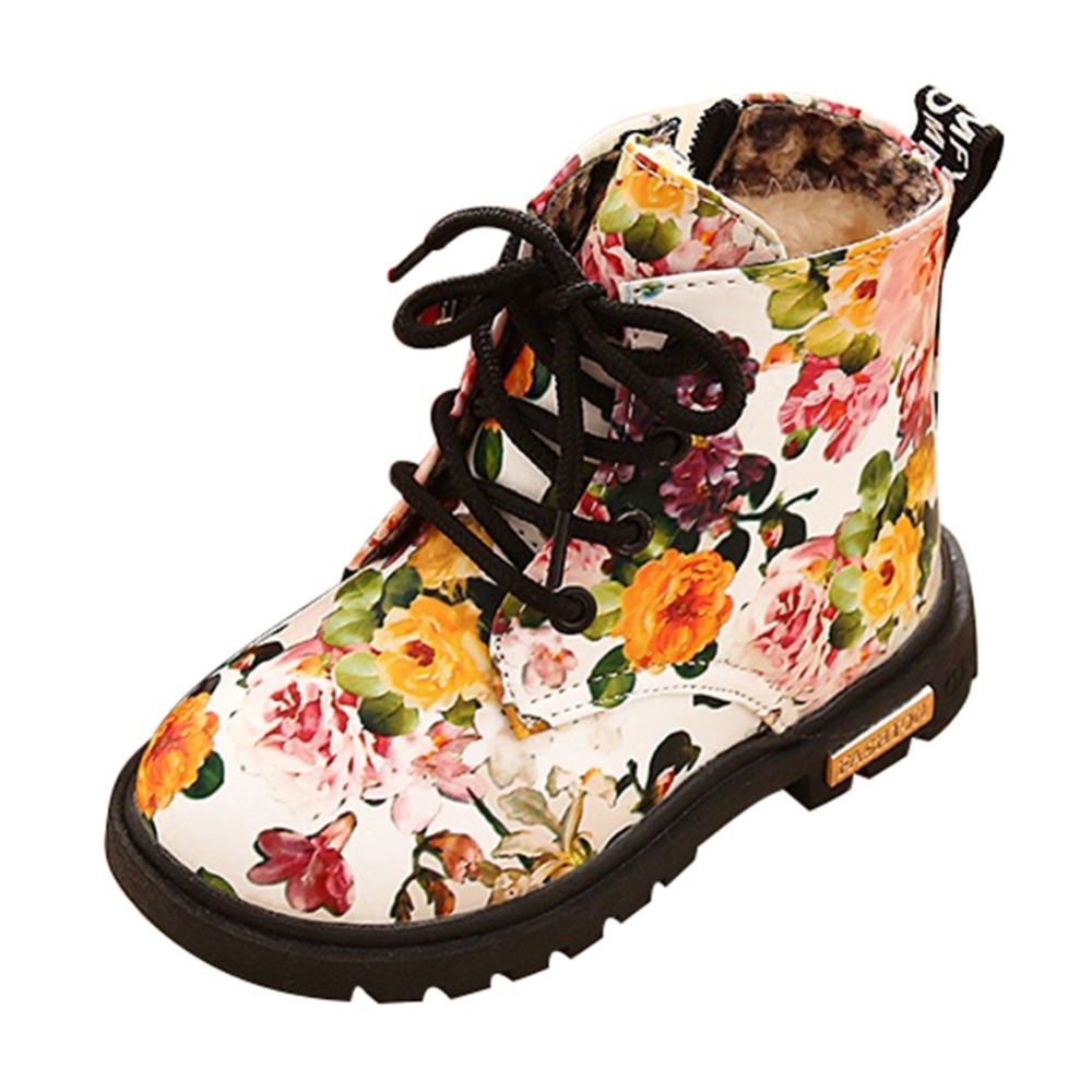 e6053ac3fa77 Detail Feedback Questions about British Style Martin Boots Girl Flower  Style Combat Kids Shoes Ankle toddler botas Floral Kids Warm Snow winter  boots for ...
