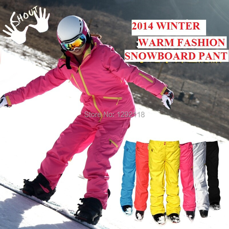 New winter fluorescent yellow pink ski pants women pantalon snow esqui  snowboard pants keep warm waterproof ski wear 99fd44486