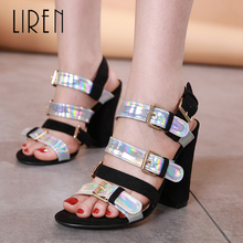 Liren New 2019 Sweet Sandals Women Gladiator Flock Shoes Style Thick Heel 11 CM Open Toe Size 35-40