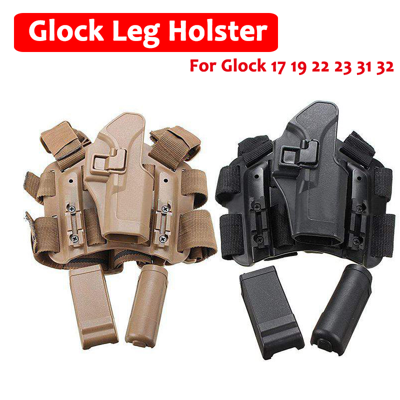 Quick Drop Tactical Gun Holster Military Airsoft Gun Hunting Pistol Leg Holster For Glock 17 19 22 23 31 32 Right Hand Holster blackhawk tactical gun holster level 3 holster glock with flashlight pistol holster