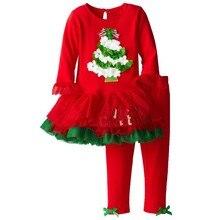 2017 New arrival kids girls Christmas tree costume top quality dress + leggings 2pcs Christmas children clothing set