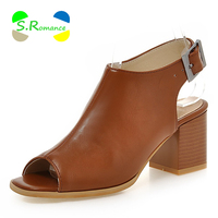 Women Sandals Plus Size 33 43 Peep Toe Buckle Strap Med Square Heels New Fashion High