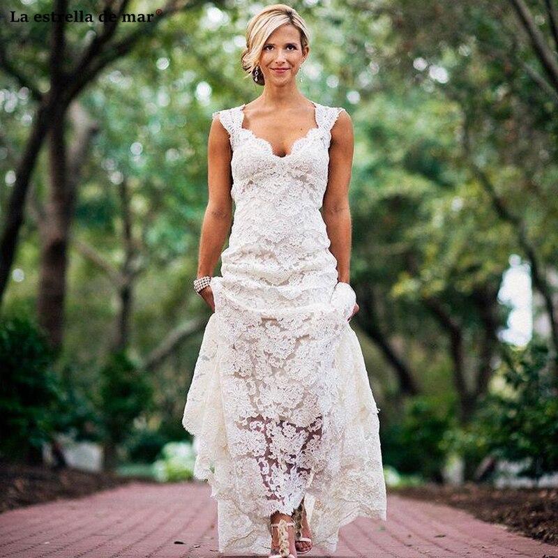 Vestidos De Novia Corte Sirena New Lace Backless Ivory Country Boho Wedding Dress Cheap Vestiti Da Sposa Robe Sirene Mariage