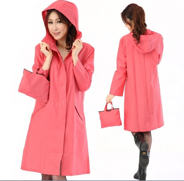 Women's fashion waterproof raincoat candy pink rainwear female ...