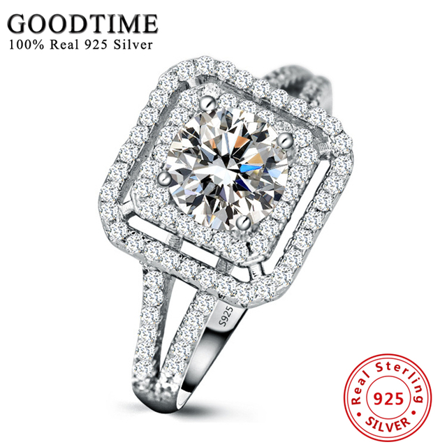 Luxury Women Engagement Ring Real Sterling Silver Rings 925 Jewelry 1 Carat Cubic Zirconia Wedding