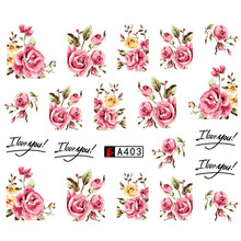 Nail Art Flower Series Water Transfer Nail Art Full Cover Sticker Set Floral Flowers Watermark Decal Beauty Tools(China)