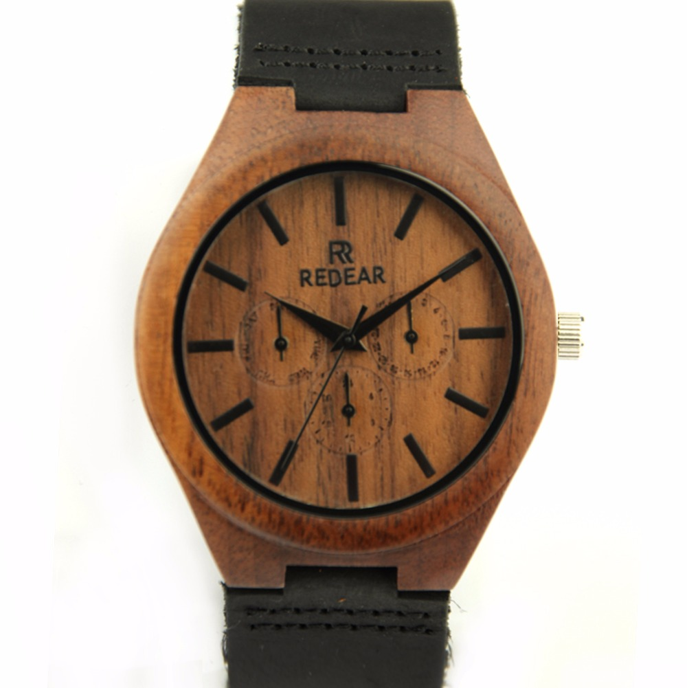 ФОТО 2016 New Men's Maple Wood Watch 3 Eyes with Outline Wristwatch Black Marble Watch Dial Japan Quartz Wristwatches Wooden Watch