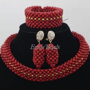 2016 Handmade African Beads Jewelry Sets Nigeria Wedding Red Coral Beads Jewelry Sets Bridal Jewelry Sets Free Shipping CJ445