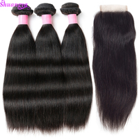 Shuangya Hair 4Pcs Lot Peruvian Straight Hair Human Hair Bundles With Closure Free Middle Part 3