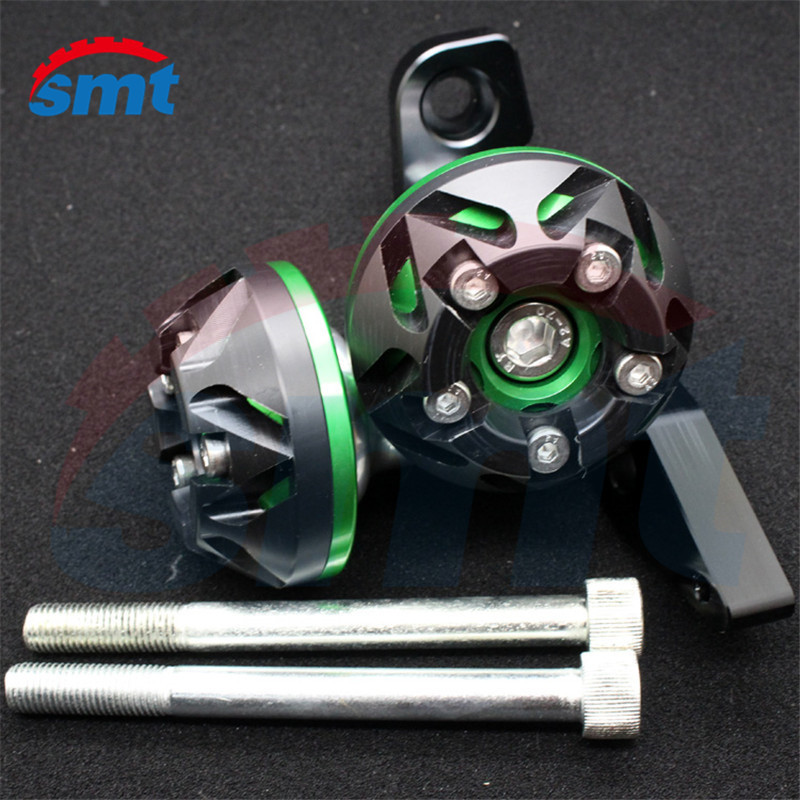 HOT SALE motorcycle accessories PARTS green color engine cover frame sliders CNC aluminum crash protector for  kawasaki ER6N 6F